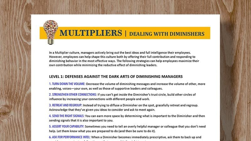 13 Strategies to Deal with Diminishers - Multipliers - The Wiseman Group